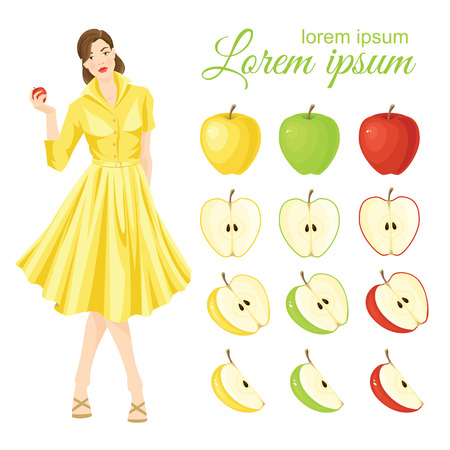 yellow apple: Vector illustration of ripe apple fruit and apple slices on a white background. Half of red, green and yellow apple. Belle girl in fifties retro dress holding apple in her hand Illustration