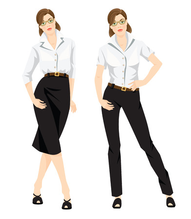 dress code: Vector illustration of corporate dress code. Business woman or professor in formal white blouse, black pants and black skirt. Woman in glasses isolated on white background. Base wardrobe.