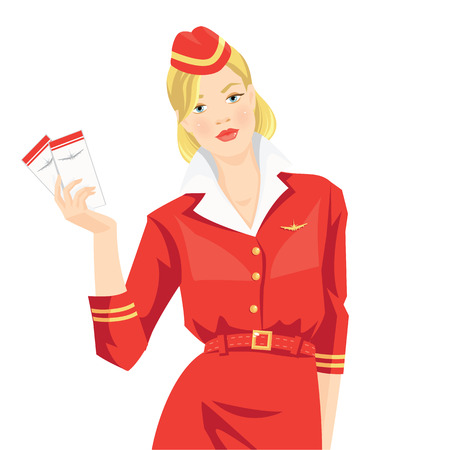 hostess: Vector illustration of air hostess isolated on white background. Stewardess holding ticket in her hand. Woman in official red suit. Hat with gold ribbon. Gold symbol of airplane on formal red suit