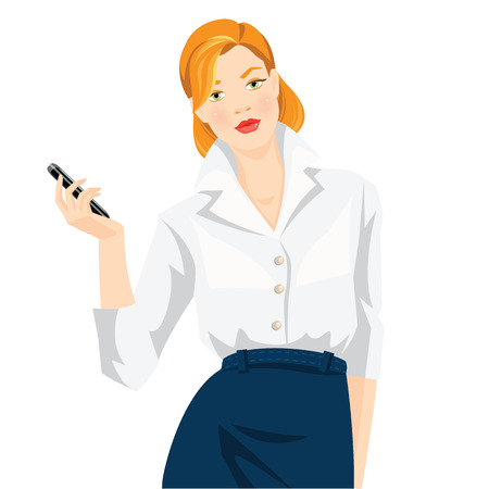 redhead woman: Vector illustration of secretary or business woman isolated on white background. Redhead woman in formal white blouse and blue skirt holding mobile phone in her hand. Illustration