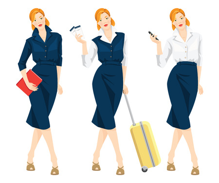 woman holding bag: Vector illustration of business woman traveling with her bag. Business woman holding mobile phone in her hand. Secretary or manager with document in formal clothes isolated on white background