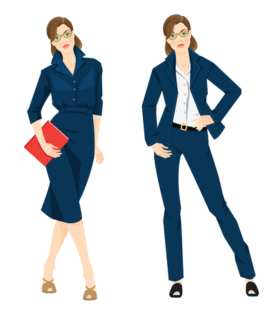 official wear: Vector illustration of corporate dress code. Business woman or professor in formal blue dress white blouse, blue pants and blue skirt. Girl in glass holding document in her hand isolated on white.