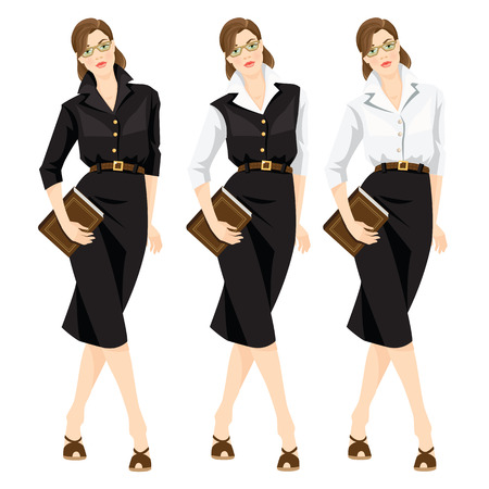 librarian: Vector illustration of librarian or teacher in formal clothes and eyeglasses isolated on white background. Cute woman hold book in her hand. Girl in black dress, white formal blouse and black skirt
