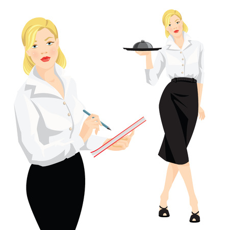 white blouse: Vector illustration of waitress take order. Waitress with tray. Blonde woman in formal white blouse and black skirt isolated on white background