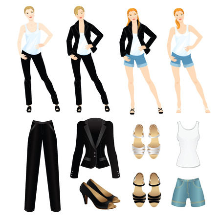 formal shirt: Vector illustration of different look with black suit and white shirt. Casual and formal style of clothes. Pretty woman in white blouse, black jacket and jeans shorts. Various hairstyle. Base wardrobe