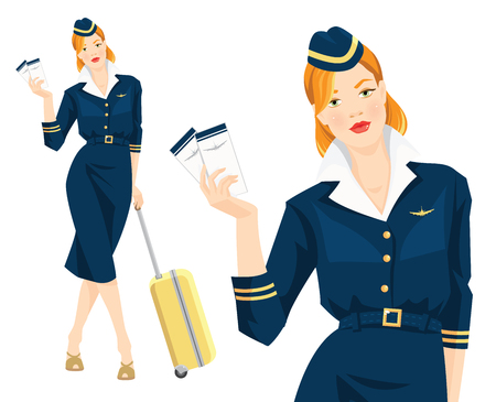 redhead woman: Vector illustration of beautiful redhead air hostess holding ticket in her hand. Stewardess with travel case. Woman in blue formal clothes and hat with gold ribbon isolated on white background. Illustration