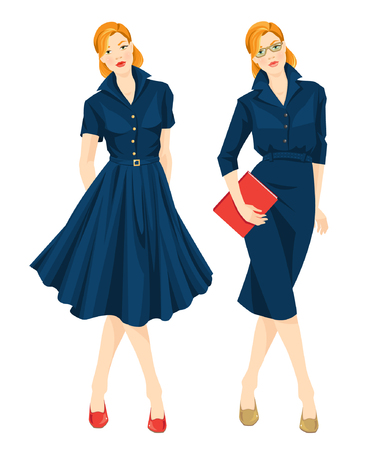 redhead woman: Vector illustration of woman worker in formal blue dress and redhead woman on holiday in elegant blue dress. Woman in glasses hold document in her hand Illustration