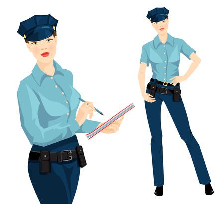 policewoman: ilustración vectorial de la hermosa mujer policía rubia en ropa formal aisladas sobre fondo blanco. Mujer oficial de la escritura en el documento Vectores