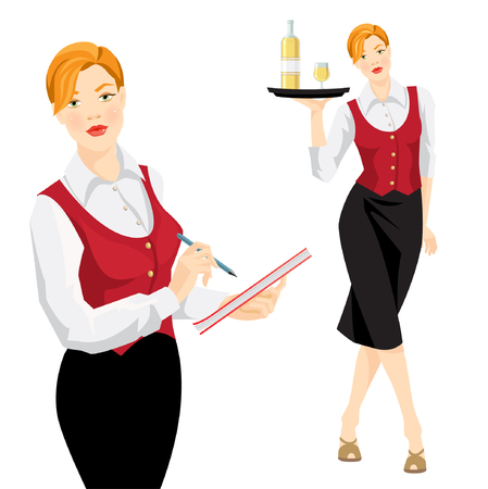 redhead woman: The waitress takes an order. Waitress with tray. Vector illustration of redhead woman in uniform isolated on white background. Red formal west, white blouse and black skirt. Illustration
