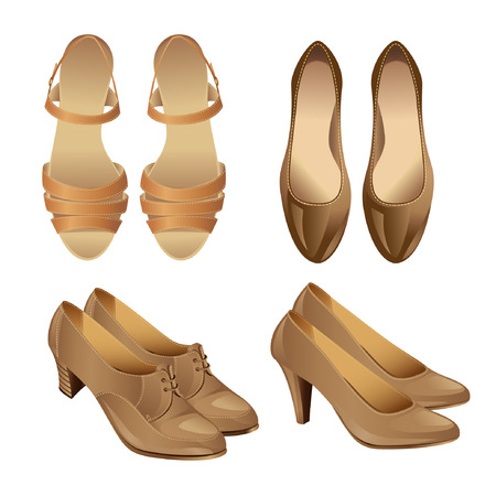 Conjunto de zapatos rojos de estilo vaus aislados sobre fondo blanco. Sandalia para la mujer. Zapatos de la Corte. Zapatos con tira en el tobillo para el baile flamenco español. Zapatos clásicos con cordones en el talón medio.