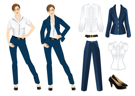 dress code: Vector illustration of corporate dress code. Office uniform. Clothes for women. Business woman or professor in official blue formal suit. Woman in glasses. Illustration