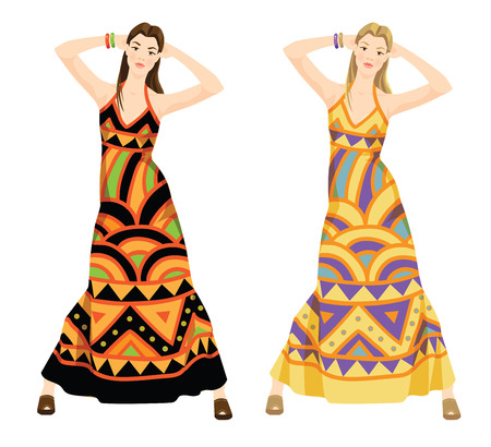 sixties: Vector illustration of hippie girl in dress with ethnic ornament. Young girls in expression pose isolated on white background. The image of woman in the style of the sixties Illustration