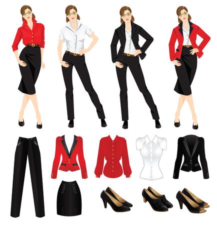 회사 드레스 코드의 벡터 일러스트 레이 션. 공식 검은 신발. 여성 의류. 비즈니스 여자 또는 공식 검은 정식 슈트 교수. 안경에 여자입니다. 재킷과 블 일러스트