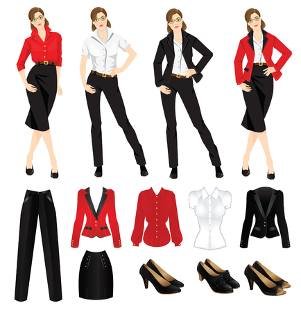 Vector illustration of corporate dress code. Official black shoes. Clothes for women. Business woman or professor in official black formal suit. Woman in glasses. Different color of jacket and blouse Vettoriali