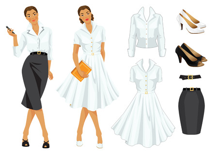 formal dress: Vector illustration of woman worker in formal clothes and woman on holiday in elegant white dress.