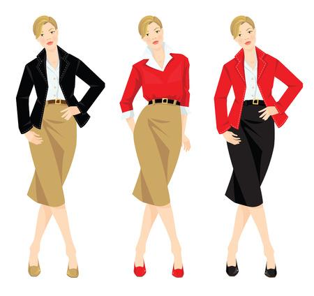 falda: Ilustración vectorial de un aspecto diferente con la chaqueta, chaqueta de punto, falda y camisa blanca.