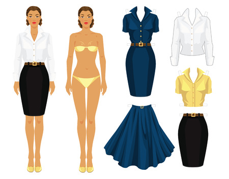 Paper doll with clothes.
