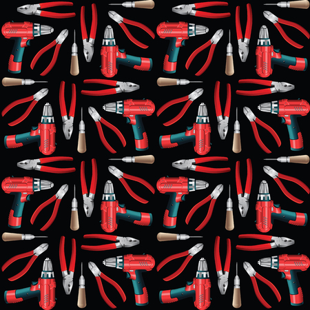 awl: Pattern with work hand tools. Nippers, awl, pliers, electric screwdriver or drill isolated on white background
