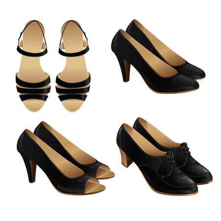 ankle strap: Vector illustration of classic shoe style. Set of woman leather black shoes. Pair of black formal shoes for business woman. Illustration