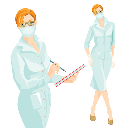 medics: vector illustration of medic woman in medical gown and mask wrote in the document. A Redhead woman in medical gown, mask and glove isolated on white background.