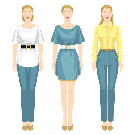 white blouse: Vector illustration of girls in different clothes and various style of haircut. Girl in jeans, white blouse and black belt. Woman in light blue dress with white belt. Girl in yellow shirt and jeans.