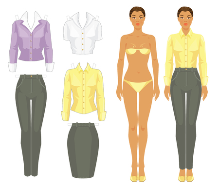 afro girl: Paper doll with clothes. Body template. Set of template paper clothes. Afro girl in grey pants, yellow silk blouse and shoes Illustration