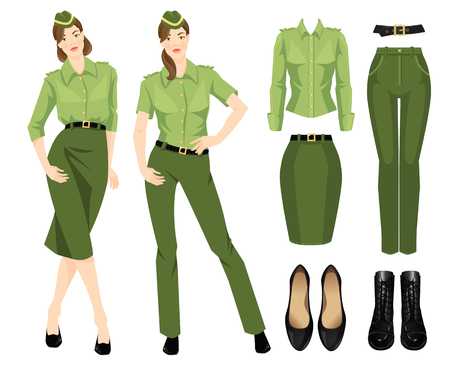girl shirt: Vector illustration of military wardrobe for woman. Formal green pants, skirt, shirt, black classic shoes and black boots with lace isolated on white background.