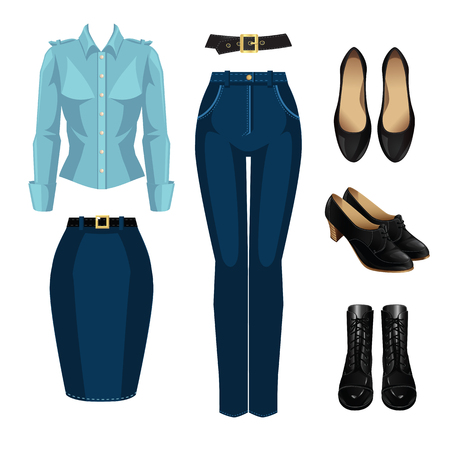 formal shirt: Vector illustration of formal wardrobe for woman. Formal blue pants, skirt, shirt, black classic shoes and black boots with lace isolated on white background. Illustration
