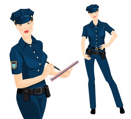 femme policier: Vector illustration de la belle policière blonde dans des vêtements formels isolé sur fond blanc. L'officier de police écrit dans le document