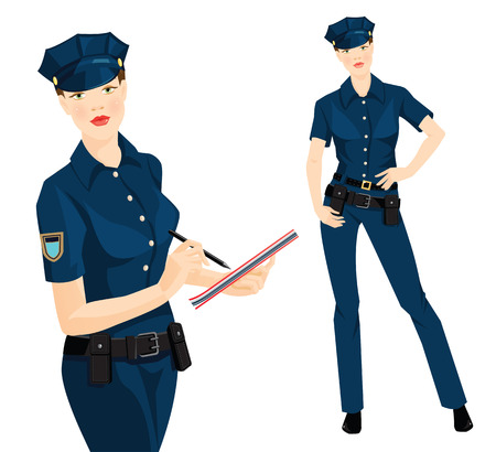 duty belt: Vector illustration of beautiful blonde policewoman in formal clothes isolated on white background. Police officer writing in document