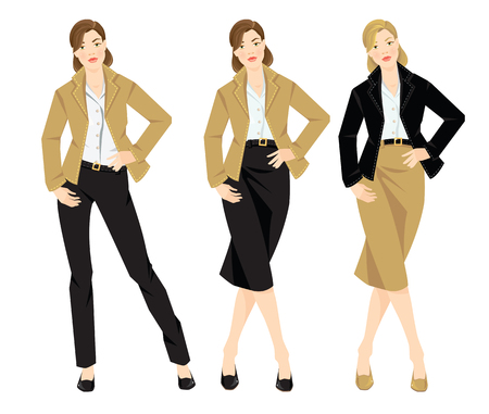 suit skirt: Vector illustration of different look with jacket, pants, skirt and white shirt. Casual and formal style of clothes. Base wardrobe. Different color of shoes, jacket and skirt.