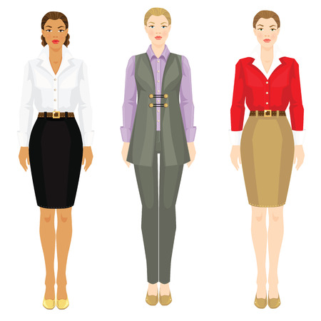 skin tones: Vector illustration of women in various elegant office clothes isolated on white background. Young women with different skin tones and hair color. Illustration