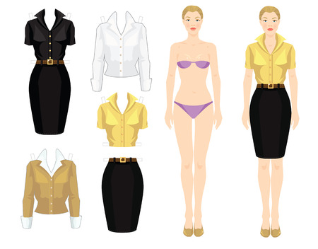 Paper doll with clothes. Body template. Set of template paper clothes. Clothes for office. Pretty girl in beige cardigan, white blouse, yellow blouse, black skirt and beige shoes. Çizim