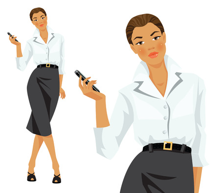 white blouse: Vector illustration of woman worker in formal clothes. Woman in formal white blouse and grey skirt holding mobile phone in her hand.