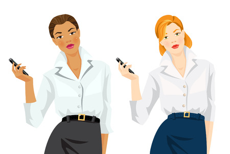 redhead woman: Vector illustration of woman worker in formal clothes. Woman in formal white blouse and grey skirt holding mobile phone in her hand. Redhead woman in formal white blouse and blue skirt. Illustration