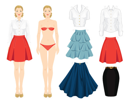 white blouse: Paper doll with clothes. Body template. Set of template paper clothes. Clothes for office, clothes for holiday. Different model of skirt. Base wardrobe. Girl in red skirt with folds and white blouse Illustration