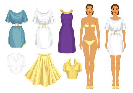 buckle: Paper doll with clothes. Body template. Set of template paper clothes. Clothes for holiday. Elegant white dress with white belt and gold buckle. Violet dress with gold decoration ribbon. Illustration