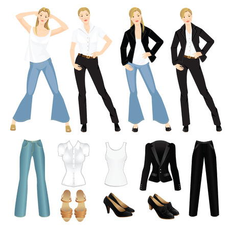 white shirt: Vector illustration of different look with black suit, blue jeans and white shirt. Girls in casual and formal style of clothes. Various hairstyle. Base wardrobe.