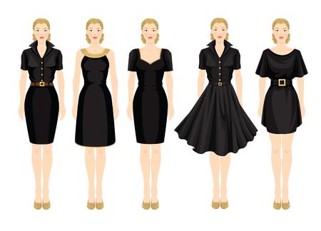 black dress: Vector illustration of blonde girls in different models of little black dress