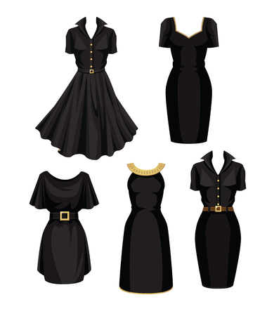 Vector illustration of different models of little black dress Vettoriali
