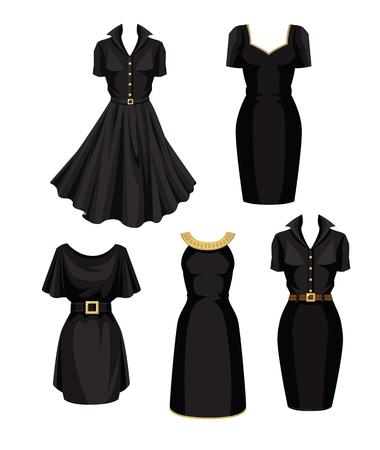 Vector illustration of different models of little black dress Illustration