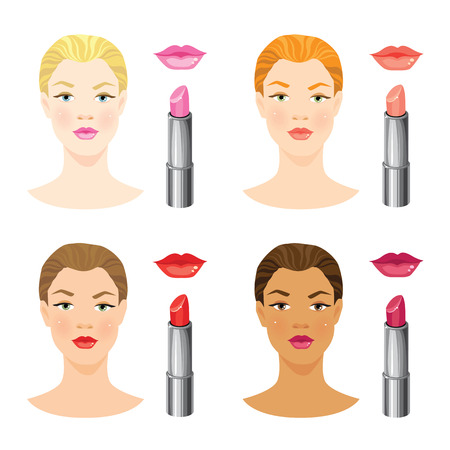 skin color: Beauty girl face with different skin tone and different lips and hair color. Vector illustration of different color of lipstick and lips isolated on white background. Illustration