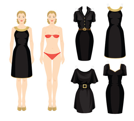 dresses: Doll with clothes. Body template. Set of template paper little black dress. Woman in black dress with a gold ribbon. Illustration