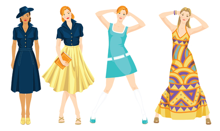 classic style: vector illustration of different retro style of clothes. Various pose of young pretty girls isolated on white background. Illustration