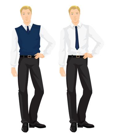 Illustrazione vettoriale di codice di abbigliamento aziendale. L'uomo d'affari in camicia formale bianca, pantaloni neri, blu navy cravatta e gilet maglione blu marino isolato su sfondo bianco. armadio Base.