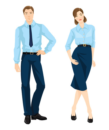 dress code: Vector illustration of corporate dress code. Man and woman in official light blue shirt, navy pants, black belt, black shoes and navy skirt isolated on white background. Formal wardrobe. Illustration