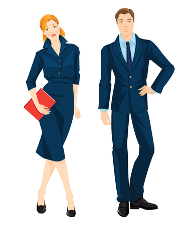redhead woman: Vector illustration of corporate dress code. Young redhead woman in official blue dress holding document in her hand. Business man in formal navy blue suit and light blue shirt isolated on white.