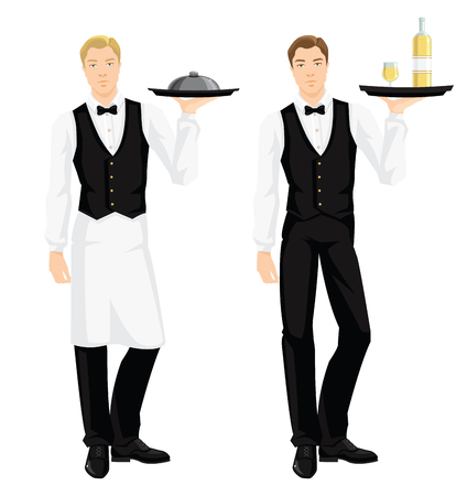 white blouse: Vector illustration of waiter with tray isolated on white background. Young man in formal clothes. Young man in black vest, skirt, white blouse, tie and white apron