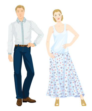 brown shirt: Vector illustration of young people in casual clothes. Pretty woman in white blouse and skirt with flower print. Young man in blue jeans, white shirt brown belt and brown oxford shoes