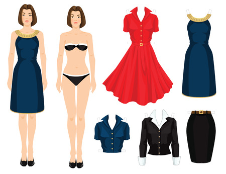 isolated on red: Paper doll with clothes. Body template. Set of template paper clothes. Clothes for office, clothes for holiday. Girl with bob hairstyle in elegant navy blue dress with golden ribbon